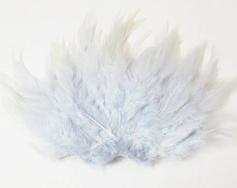 Rooster Saddle Feathers - Cool Grey, 2 inch strip (50-60pcs)