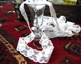 White Lace Trim 2 Yds. 1 inch wide Vintage