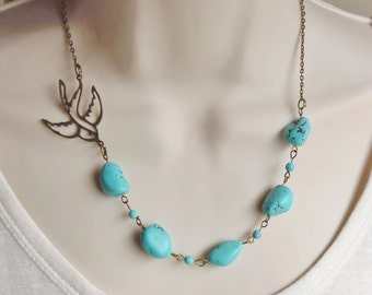 Turquoise Statement Necklace. Statement Jewelry. Sparrow Necklace. Turquoise Jewelry. Swallow Necklace