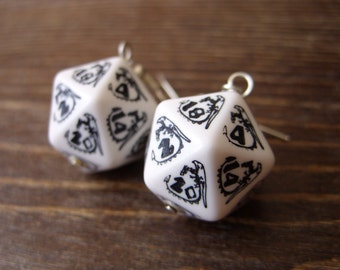 D20 earrings dungeons and dragons dice earrings white black dice jewelry dragon jewelry geek geekry rpg gaming