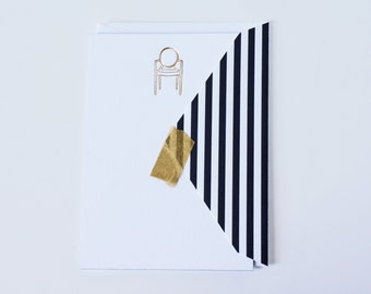 Louis Ghost Chair Note Card Gold Foil Letterpress Black and White Midcentury Modern Stationery
