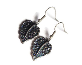 Leaf Earrings, Metal, Pewter, Glazed, Colorful, Teal, Purple, Fan, Rainbow, Autumn, Fall, Green, Feather, Glitter, Sparkle, Multi-Color