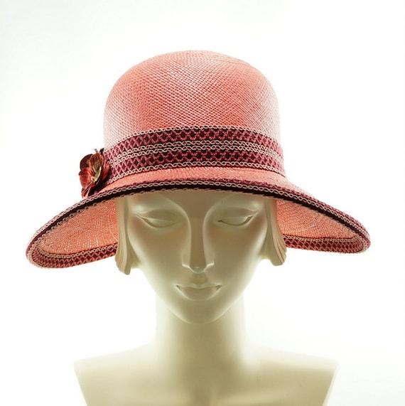 Pink Coral Wide Brim Hat For Women Ladies Straw Hat