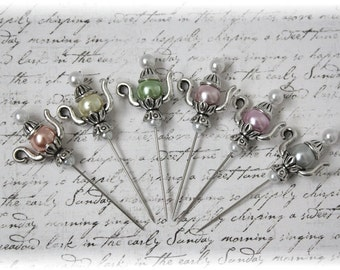 New Colors Teapot Stick Pin Light 2 Collection,  for Scrapbook, Cardmaking, Mini Album, Tag Art