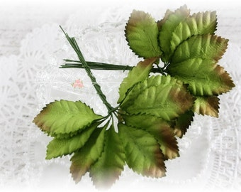 Green Mulberry Leaves Set of 20 for Scrapbooking, Cardmaking, Altered Art, Wedding, Mini Album