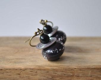 Black Grape Earrings, Lampwork Earrings, Sugared Earrings, Glass Earrings