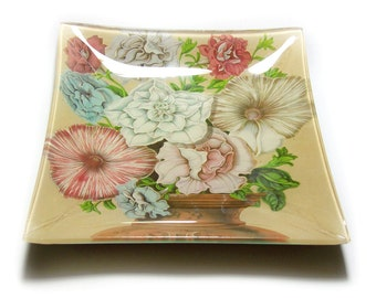 Vintage Bent Glass Tray with Flowers in Urn Design / Mid Century Bent Glass Dish with Flowers