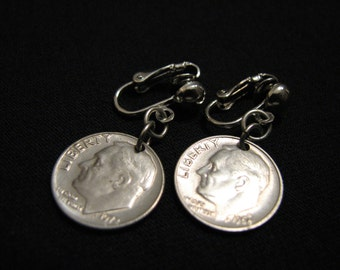 Vintage 1968 and 1972 Dime Coin Clip Earrings
