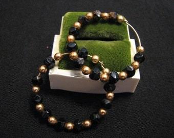 Vintage Gold Tone and Black Crystal Glass Beaded Hoop Pierced Earrings