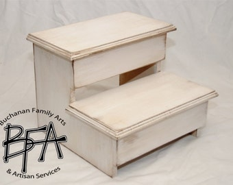 XL Adult Size Step Stool Poplar Solid hardwood WOOD - Kitchen Pantry Closet Bed Bathroom - Great for 2 KIDS too - Modern Simple & Classic!
