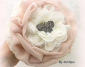 Toss Bouquet, Ivory, Cream, Gray, Blush, Bridesmaids Bouquets, Maid of Honor, Fabric, Lace, Butterfly, Elegant Wedding,Gatsby, Vintage Style
