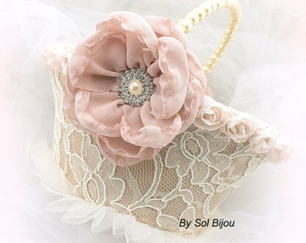 Flower Girl Basket, Ivory, Cream, Tan, Beige, Champagne, Blush, Elegant Wedding, Lace, Crystals, Pearl Handle, Vintage Style, Gatsby