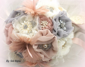 Brooch Bouquet, Ivory, Pink, Gray, Grey, Blush, Silver, Dusty Rose, Elegant Wedding, Vintage Style, Jeweled, Feathers, Lace, Pearls