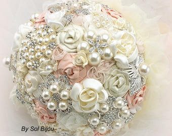 Blush Brooch Bouquet, Cream, Ivory, Vintage Wedding, Gatsby, Elegant Wedding, Bridal Bouquqet, Jeweled, Pearls, Crystals, Lace Bouquet