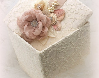 Keepsake Box, Ivory, Blush, Tan, Beige, Champagne, Wedding Box, Memory Box, Birthday, Anniversary, Lace Box, Pearls, Vintage, Elegant