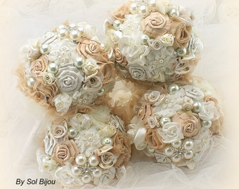 Bridesmaids Bouquets, Champagne, Gold, Tan, Ivory, Brooch Bouquets, Wedding, Maid of Honor, Pearls, Crystals, Vintage Style, Gatsby, Elegant