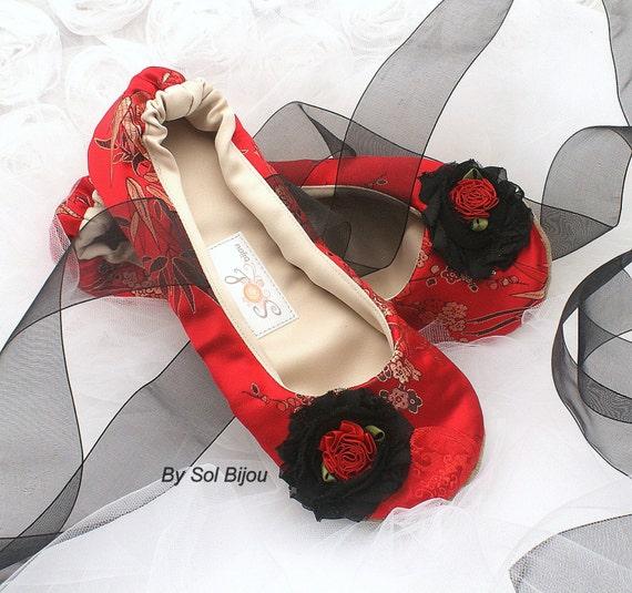 Ballet Flats, Red, Black, Gold, Bridal, Wedding Flats, Shoes, Flats, Ballet Slippers, Flower Girl, Silk, Indian Wedding, Asian Wedding