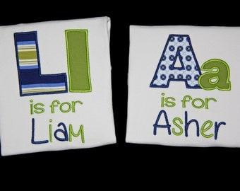 Boy's Alphabet T-shirt, Boys School T-shirt, Boys Birthday T-shirt , Boys Alphabet T-shirt, - Lime/Blue Stripes or Dots  NB-12T