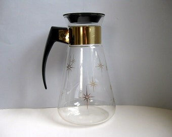Vintage 1960s glass carafe with gold stars Coffee carafe