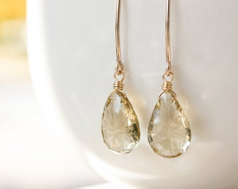 Gold Champagne Citrine Gemstone Earrings - November Birthstone Earrings - 14K GF