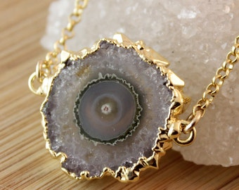 50% OFF SALE - Amethyst Stalactite Connector Necklace - 14K GF - Purple Amethyst Slice, Gold Dipped