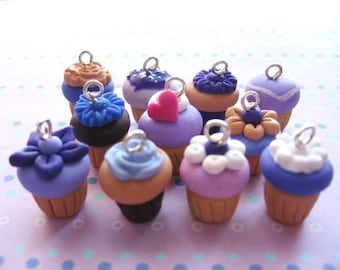 LAVENDER cupcakes charms-10 different pcs - handmade with polymer clay