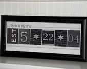 Custom Wedding Date- Alphabet Letter Photography- Personalized Number Photo Art 8x20- Black and White- FRAMED Date