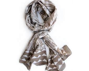 SAMPLE SALE Beige Tan Printed Scarf for Women - Au Naturale, Block Print, naturally dyed, Cotton, For women, mothers day, gift -TREE