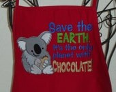 Embroidered Unisex Red Apron with Koala Bear and Chocolate
