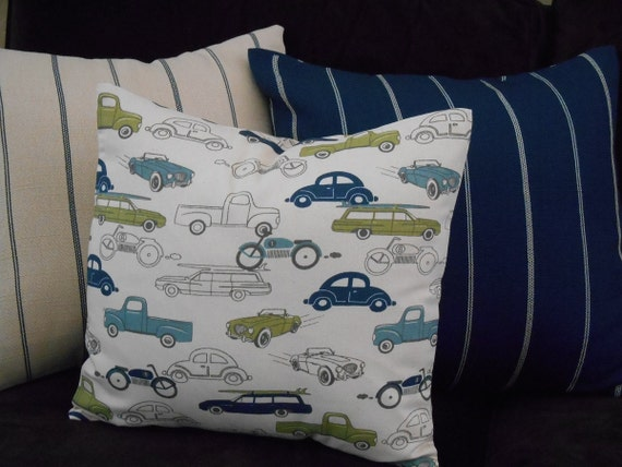 Decorative Pillow Covers Set with Cars Trucks and Motorcycles in Blue and Green, Set of 3, Pillows for Boys, Man Cave Pillows