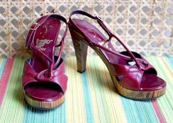 Naughty But Nice Wood Platforms / Sandals / Heels