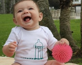 Infant Onesie - Picnic Ants running away with baby bottle - white, child bodysuit