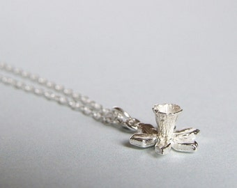 Silver Daffodil Flower Pendant Necklace - Spring Jewellery, Welsh Gift, Mother's Day Present
