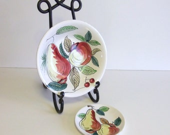 Vintage Bowl, Royal Sealy Serving Bowl and Dessert Plate, Hand Painted, Fruit Motif