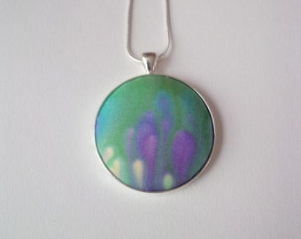 Hand Painted Silk Pendant in Purple and Green