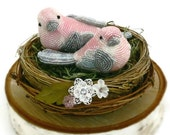Pink Bird Wedding Cake Topper Beaded Love Bird Couple Spring Wedding Floral Twig Nest READY TO SHIP