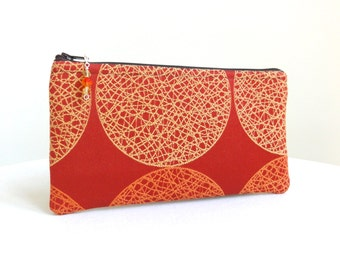 Sunrise Zippered Bag / Cosmetic Bag - Orange, Red & Yellow - READY TO SHIP