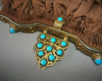 Silver Turquoise Stones Gilded Antique Silk Handbag   Purse FREE SHIPPING To The USA And Canada