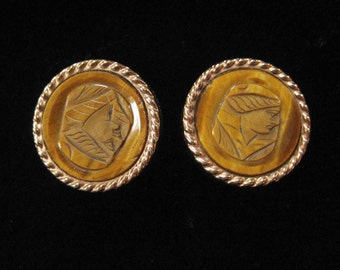 Carved Tiger's Eye Cameo Cuff Links, 1880 by Acme, Scholar Image
