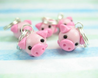 Pig Knitting Stitch Markers (Set of 5) polymer clay animal charms