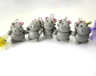 Hippo Stitch Markers 5x hippopotamus animal polymer clay charm knitting accessories hippo gifts for knitters for her womens gifts cute knit