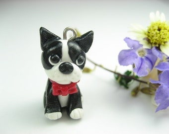 Boston Terrier Necklace pendant - dog jewelry ,miniature animal dog bow, boston terrier gifts jewelry gift pet lover for her for women