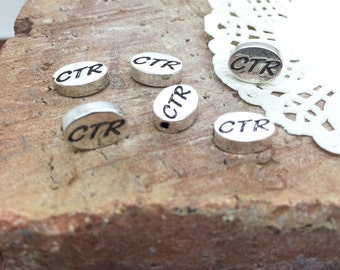 6 CTR - Choose the Right message beads Primary CTR stamped beads CTR word beads silver plated beads 9mm long, 11mm wide, 3mm thick, hole 1mm