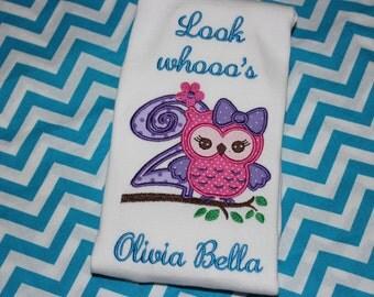 2nd birthday Owl- Look who's 2- bodysuit, tshirt, or ruffle dress