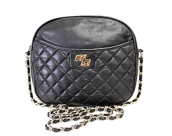 Authentic Black Leather Quilted Bag MB Gold Chain Crossbody Shoulder Purse