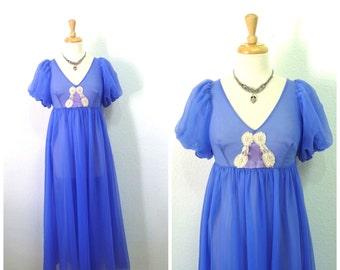 Vintage 60s Nightgown Iris Nylon Lingerie Empire waist Jenelle of California Size Small