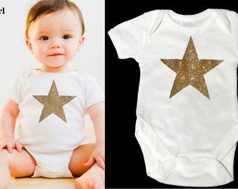 Gold Glitter Star Baby Onesie