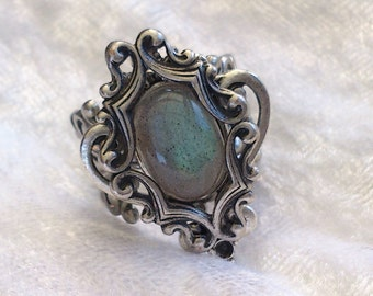 Fire and ice ring labradorite goth victorian adjustable