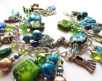 Silver gemstone pearl charm bracelet - blues and greens - Fun on the Beach