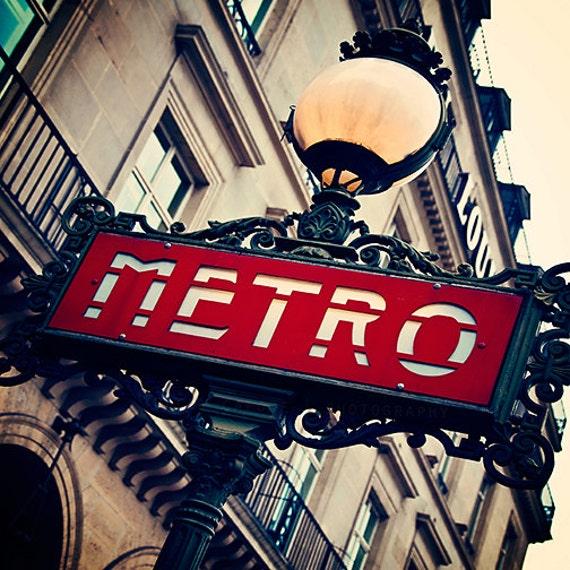 Paris Print - Paris photography, Metro Sign Wall Decor - Paris art print, Metropolitain sign, French home decor, Paris Wall Art - The Metro